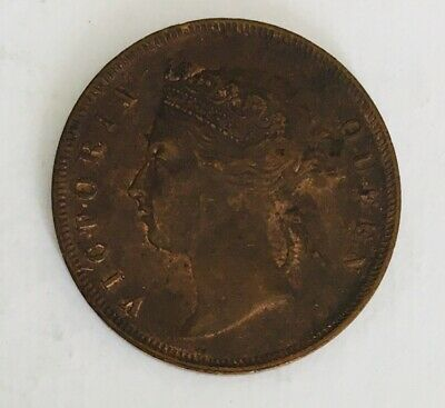 Straits Settlements 1874 Copper 1 Cent Queen Victoria KM# 9 without H