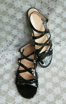 TALBOTS SANDALS Made in Brazil Black Patent Leather, Ankle Strap Women's 9 M EUC