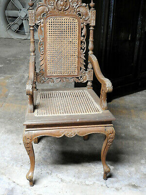Mid20th century Oriental Carved Wooden High Backed chair Rattan Seat and Back