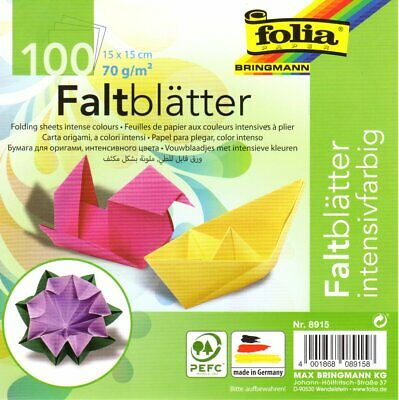 100 Sheets Double Sided 15cm Origami Paper by Folia