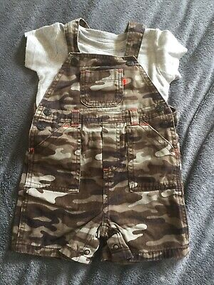 Baby Boys Carters Summer Denim Cargo Camo Shorts Dungarees Set 9-12 Months