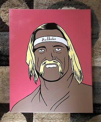 "WWF/WWE 16""x20"" Canvas 1/1 Original Hulk Hogan Pop Art Painting Artist Signed"