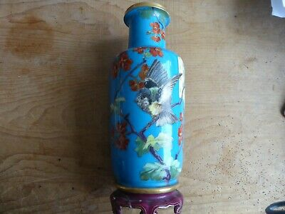 Antique 19th century English pottery vase made to look like oriental cloisonne