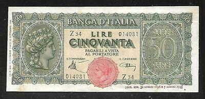 Italy Paper Money - Old 50 Lire Note - 1944 - P74 - XF/AU