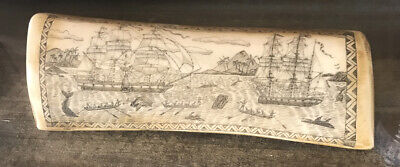 "Antique Faux Scrimshaw Carving ""The Whaler Indian Off Tahiti"" Etching 8"""
