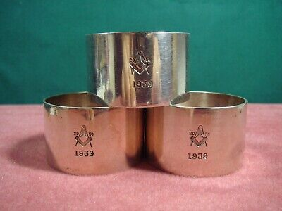 Masonic Lodge #2050 St Trinians Set of 3 Napkin Rings 1939 Isle of Man