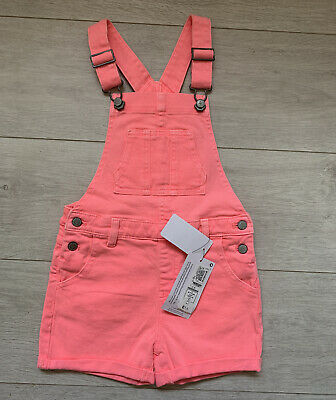 Girls Pink Denim Short Dungarees Age 6-7 Years  Marks & Spencer M&S  100% Cotton