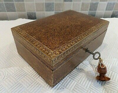 Antique French Leather Covered Box With Tray- Retailer Stamp On Base- Lock & Key