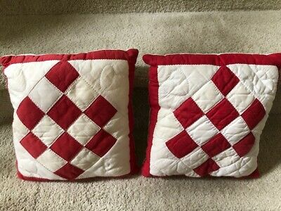 "antique red and white quilted pillows 10"" square"