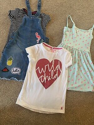 Girls Summer Bundle Joules Tshirt Dungarees Dress Flamingo 9-10 Years