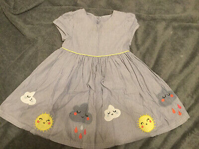 Baby Girls M&S Marks & Spencers Striped Cloud Summer Dress 9-12 Months