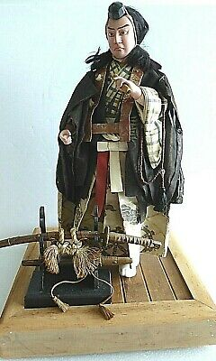 "Antique 16"" Japanese Warrior Monk Saitō Musashibō Benkei 西塔武蔵坊弁慶 doll w swords"