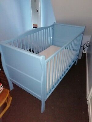 Kiddicare Sleigh Cot bed In Blue Model No 1020