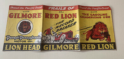 Gilmore Gas Company Trails Of The Red Lion Map 1930 RARE!!!!! gasoline
