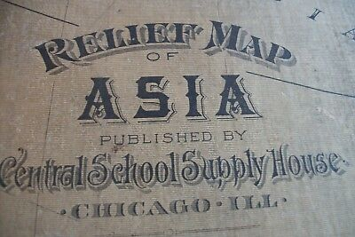 1895 Central School House Supply ASIA Relief Map