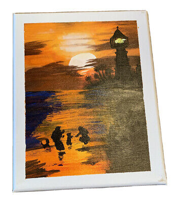 acrylic sunset painting with family, lighthouse and ocean