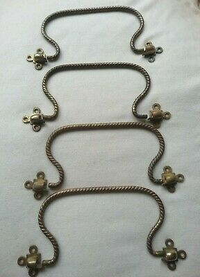 """Antique gilded Bronze Rope Twist Handles (4) with fittings ca 24 cm (9.5"""") &1 x"""