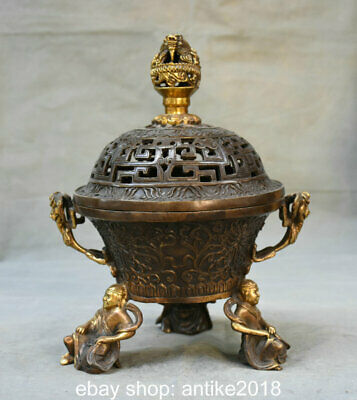 "10.8"" Old China Bronze Feng Shui Dynasty Lohan Feet Dragon Ball Incense Burners"