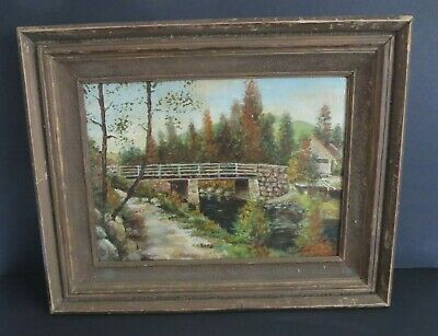 """ANTIQUE 1900 FRENCH 14x10 OIL ON BOARD PAINTING SIGNED """"LOUIS N BELLO"""""""
