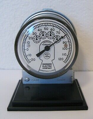 Vintage Advertising Sangamo Electric Meter Paperweight Thermometer Works