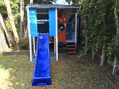 Cubby House With Slide & Sandpit