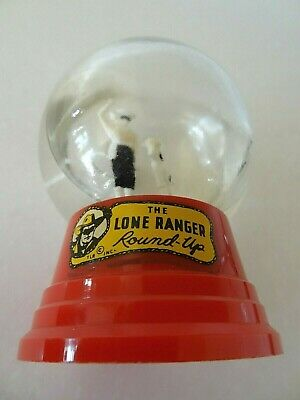 Vintage Lone Ranger Round-Up Glass Snow Globe Red Driss Company Lasso a Calf Toy