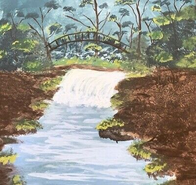 Original painting in forest with river purchased from artist in Sri Lanka