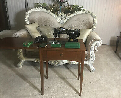 Vintage Singer Sewing Machine Model 15 w/ Cabinet, Professionally Serviced