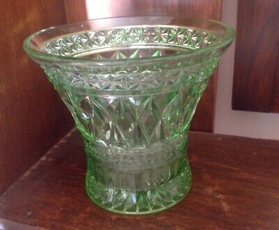 Large Vintage Australian Art Deco 1930's Green Depression Diamond Cut Vase