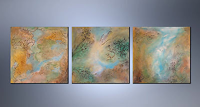 """ORIGINAL - set of 3 textured paintings by G. Liedtke """"3 Sisters"""" Abstract modern"""