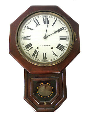 Antique Seth Thomas Drop Octagonal Rosewood 8 Day American School / Rail Clock