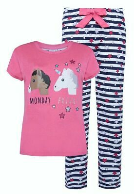 Primark Ladies UNICORN Pyjamas UK 4 Women's Girls Short Sleeve Summer PJ Set