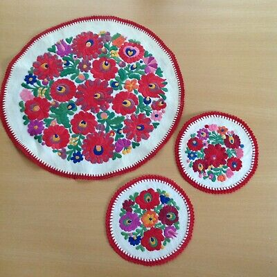 Authentic Hungarian Round Embroidered Table Cloths and two Coaster