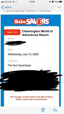 2 Chessington World Of Adventure Tickets**NOW FOR ANY WEEK DAY**