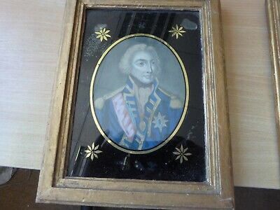 Antique early 19th century print behind glass of Nelson