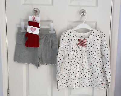 BRAND NEW Girl MOTHERCARE Floral White Shirt Grey Shorts Red Tights Set 5-6 BNWT