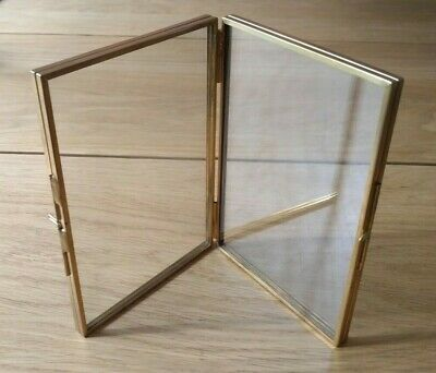 Antique Brass Gold Vintage Look Free Standing Glass Metal Picture Photo Frame