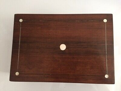 Vintage Mahogany Wooden Box Mother of Pearl Inlay~Sewing Trinket Make Up Jewels