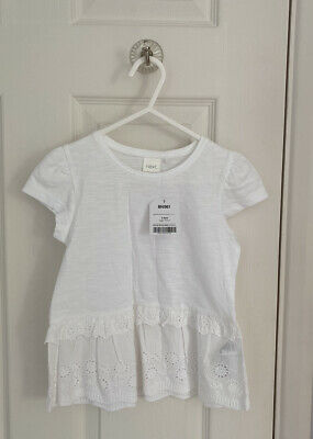 BRAND NEW Girls NEXT White Top T-shirt Broidery Anglaise 3-4 Years BNWT
