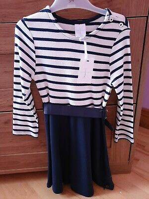 Girls Jasper Conran Navy Stripe Dress Age 3-4