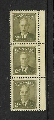 1937 CANADA - George V1, - Strip of Three - Mint Never Hinged.