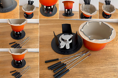 Le Creuset Fondue Set cast Iron Stand heavy Weight Flame Red 6