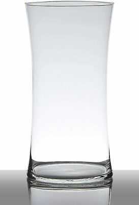 Handmade Glass clear Vase hourglass, Contemporary Bouquet vase 29 cm high