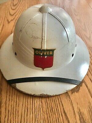 Very Old Authentic RARE OLIVER TRACTOR PITH HAT HELMET farm advertising sign