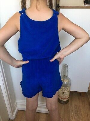 M&S Girls Royal Blue Terry Towelling Playsuit Age 7-8