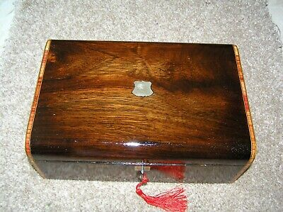 Antique Victorian Era (Probably French) Rosewood Jewellery/Trinket Box, Lock/Key