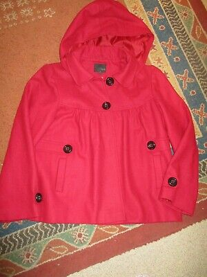 NEXT GIRLS WOOL MIX RED HOODED JACKET AGE 13-14YRS HEIGHT 164cm VGC