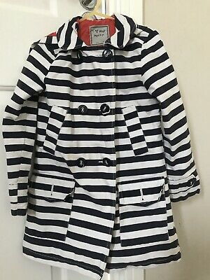 Next Girls Striped Coat With Hood In Navy Blue & White, Age 5-6, Red Lining