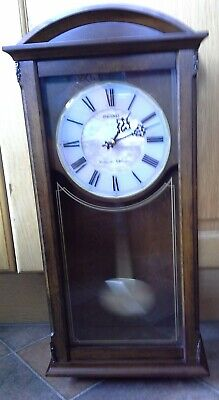 Seiko Quartz Westminster Chime Wall Clock Wood Case Pendulum EXCELLENT CONDITION