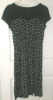 Next size 12 Black and white Polka Dot Dress with Elasticated Waist